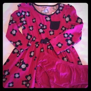 Gymboree magenta and navy dress with bloomers
